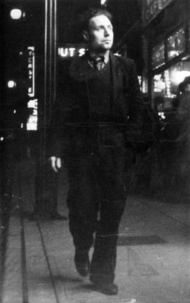 Karl Koenig walking at night on a Vancouver street