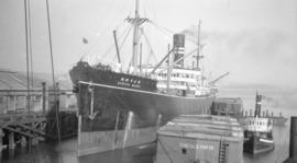 "[S.S. ""Africa Maru"" at dock]"