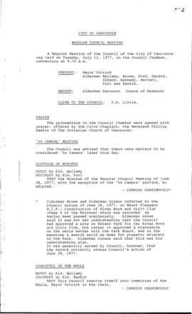 Council Meeting Minutes : July 12, 1977