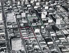 Aerial view of Downtown, with future site of Eaton's Centre, Pacific Centre, Robson Square a...