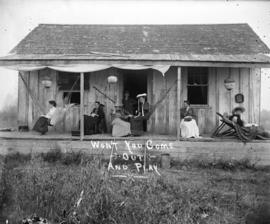 Won't you come out and play [women and boy assembled on porch of Linn's cottage]