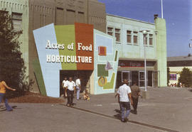 "Sign for ""Acres of Food"" and ""Horticulture"" exhibits on exterior of P.N.E. Forum"