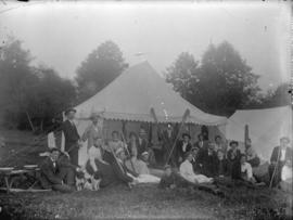 [Group assembled for picnic, outside tent in Tom Turner's orchard, Moodyville (North Vancouv...