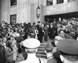 Field Marshal the Viscount Montgomery of Alamein, G.C.B. leaving the City Hall by north entrance ...