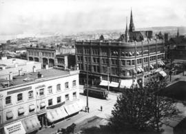[View of corner of Granville and Georgia Streets, from above]