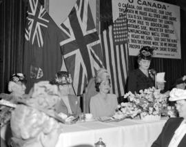 [Woman addressing members of the Women's Canadian Club during a visit by Lady Alexander, the Gove...