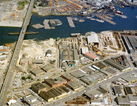 Aerial view of False Creek at Cambie Street Bridge and 2nd Avenue with Canadian Western Cooperage...