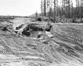 "[A ""Caterpillar"" tractor and P&H Shovel excavating a pipe line]"