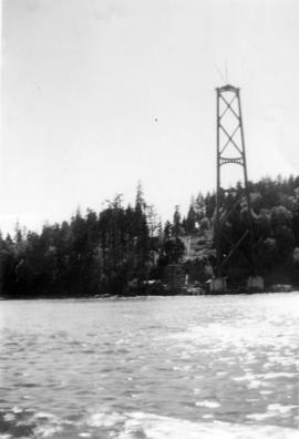 [South tower of the Lions gate Bridge under construction]