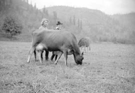 [Miss Gloria McIntosh and Mrs. Roy McIntosh at Moy Hall Farm, Sumas]