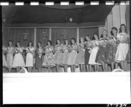 Miss P.N.E. 1959 contestants on Outdoor Theatre stage