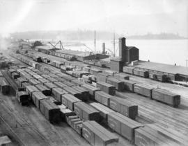 The CPR yards and wharf [at Burrard Inlet waterfront looking west]