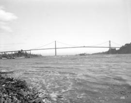 [View of the Lions Gate Bridge looking east from the Capilano River]