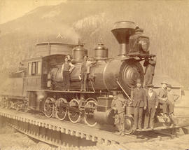 [C.P.R. locomotive #314 on man -powered turn table]
