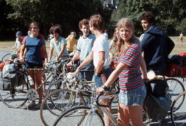 Group of teenage cyclists