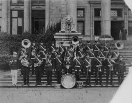 [Group portrait of Firemen's Band of Vancouver standing on Court House steps]