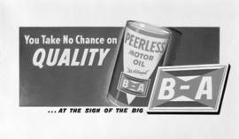 [B.A. Oil and Peerless Motor Oil poster]