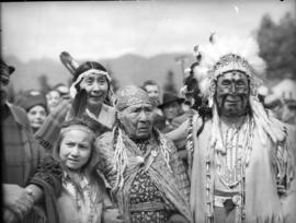 [Mrs. Mathias Joe, Mrs. Mary Capilano and Chief Mathias Joe and others during visit of King Georg...