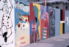 Murals on hoarding around the Vancouver Art Gallery building and site