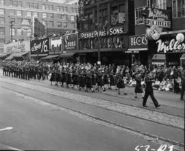 Cadets marching in 1953 P.N.E. Opening Day Parade