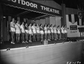 Miss P.N.E. contestants lined up on Outdoor Theatre stage