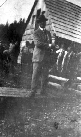 Board of Trade - Summit Lake, B.C. - [Mayor L.D. Taylor holding string of fish]