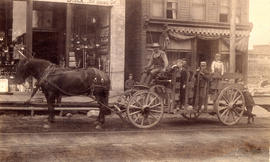[A horse-drawn delivery wagon in front of 159 Cordova Street]