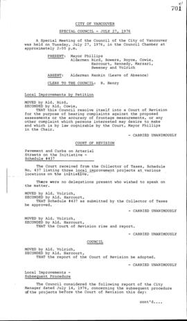 Special Council Meeting Minutes : July 27, 1976