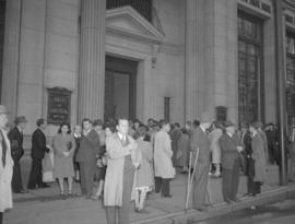 Crowd in front of Bank of Montreal