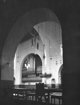 [View of chandeliers and organ from doorway], St. James' Church [303 East Cordova Street]