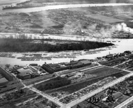 [Aerial view of Annacis Island and surrounding area during the Fraser River flood]