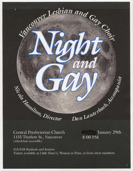 Vancouver Lesbian and Gay Choir : night and gay : Central Presbyterian Church, 1155 Thurlow St. :...