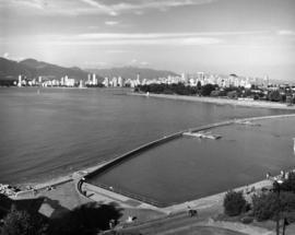 [Aerial view of] Kitsilano park and beach [and pool]