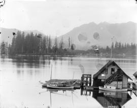 [Vancouver Rowing Club clubhouse and dock in Coal Harbour at the foot of Bute Street]