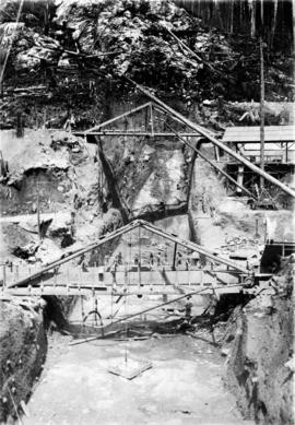 Trench for upper end of tunnel Lake Coquitlam-Lake Buntzen tunnel