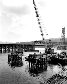 Falsework Pier No 4 Under Construction Mar. 28, 1958