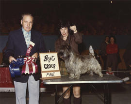 Best in Group [Terrier Group: Skye Terrier?] award being presented at 1975 P.N.E. All-Breed Dog Show