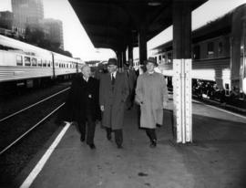 "[Mayor Harrison and other men on platform at the launch of ""The Canadian""]"