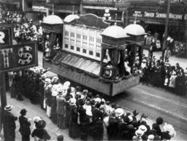 [B.C. Electric float in the 600 Block of Granville Street during a Victoria Day parade]