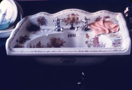 [Porcelain sink with floral pattern] Europe Hotel [43 Powell Street] from D. N. Spearing