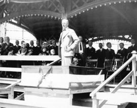 [Mayor L.D. Taylor speaking at a ceremony]