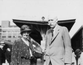 Sir Neville Wilkinson, Ulster King of Arms, and Lady Betty Wilkinson arrive at C.P.R. Station