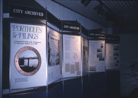 Display panels for the City of Vancouver Archives' exhibition, Portholes and Pilings