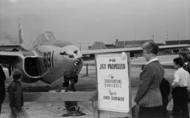 [A P-59 jet propelled airplane on display at airshow]