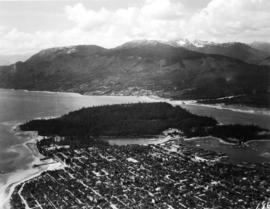 [Aerial view looking northwest of the West End and Stanley Park]