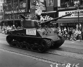 B.C. Regiment 13 Armed Regiment tank in 1953 P.N.E. Opening Day Parade