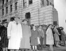 [Bystanders outside the Marine Building after the] Greenhill Park explosion