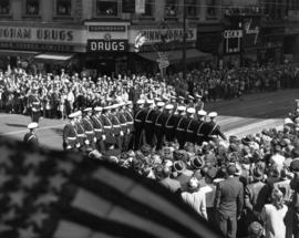 Marching drill performance in 1947 P.N.E. Opening Day Parade