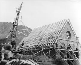 [Comeaken Indian Reserve Church roof being rebuilt]