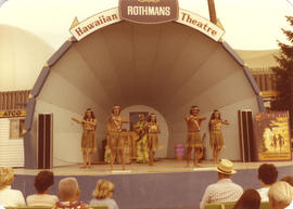 Hawaiian dancers on Rothman's Theatre stage